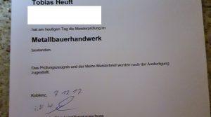 Tobias Heuft ist Metallbaumeister
